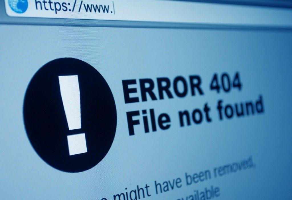 error on internet browser
