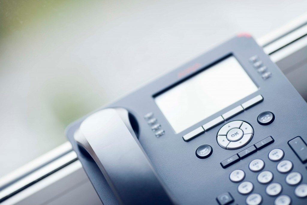 closeup of a pbx phone