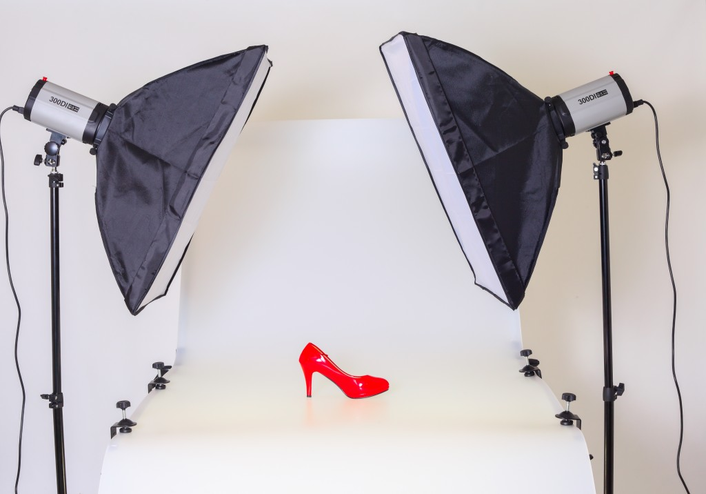 taking photos of a retail shoe in a studio