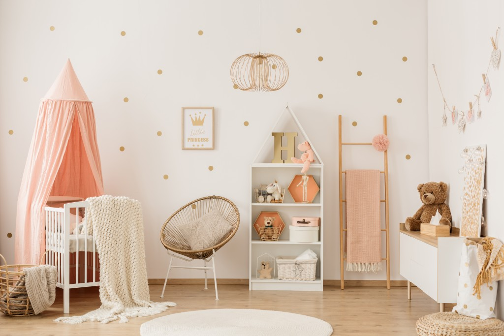 nursery room designed in pink