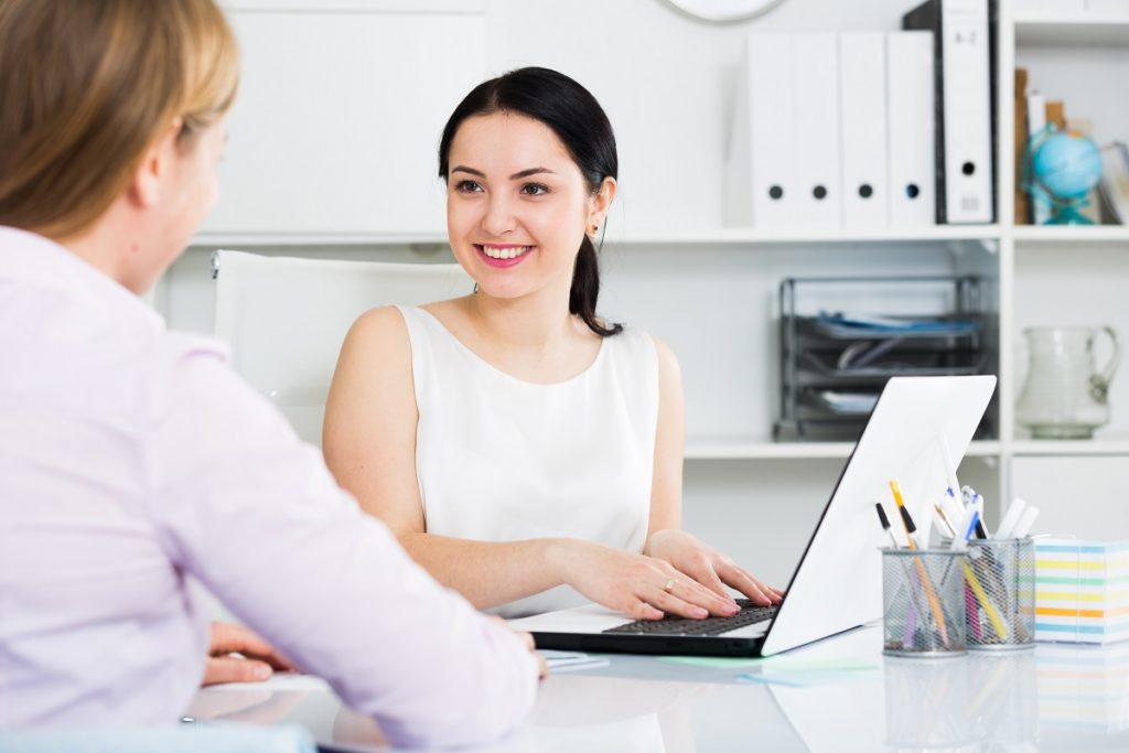 woman in a meeting with her client