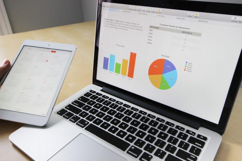 graphs statistics laptop
